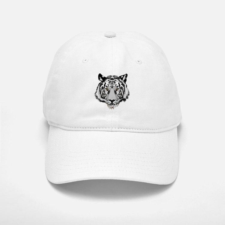 White Tiger Face Baseball Baseball Baseball Cap