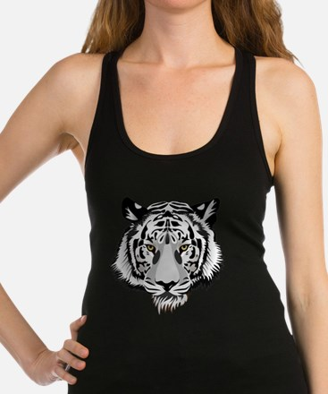 White Tiger Face Racerback Tank Top