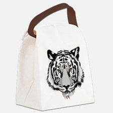 White Tiger Face Canvas Lunch Bag