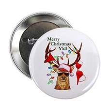 Smoking Redneck Christmas Button