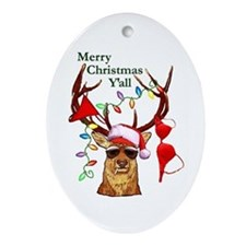 Smoking Redneck Christmas Oval Ornament