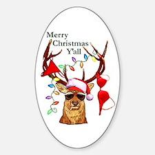 Smoking Redneck Christmas Oval Decal