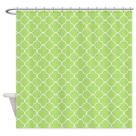 Lime Green White Quatrefoil Shower Curtain