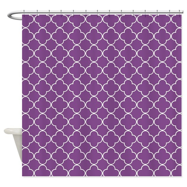 Plum Purple White Quatrefoil Shower Curtain By Dreamingmindcards