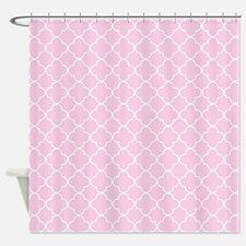 Pink White Quatrefoil Shower Curtain