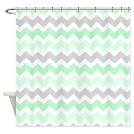 Mint Grey White Chevron Stripes Shower Curtain