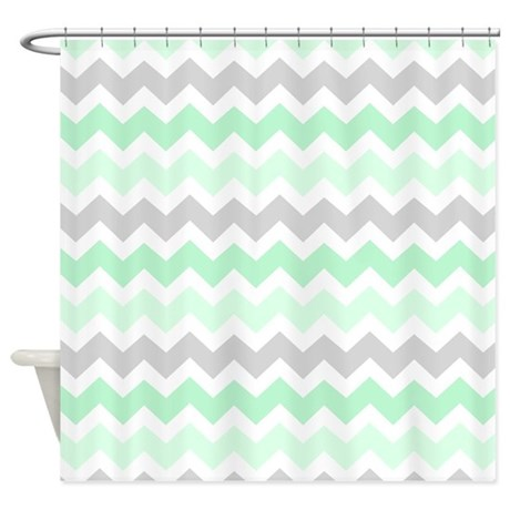 Mint Grey White Chevron Stripes Shower Curtain By DreamingMindCards