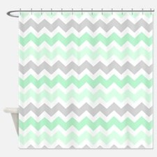 Mint Grey White Chevron Stripes Shower Curtain