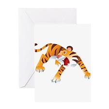 Angry Cartoon Tiger Greeting Card