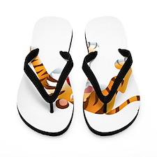 Angry Cartoon Tiger Flip Flops