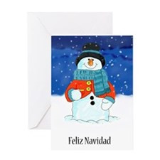 Feliz Navidad Snowman Season's Greetings Watercolo