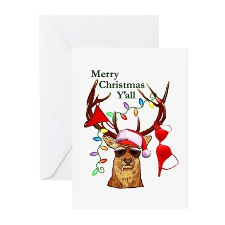 Smoking Redneck Christmas Greeting Cards (Package