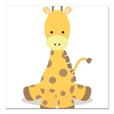 "Baby Cartoon Giraffe Square Car Magnet 3"" x 3"""