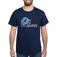 Kiss Me I'm Jewish Navy Blue T-Shirt