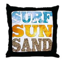 Surf, Sun, Sand Throw Pillow