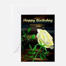 Yellow Rose Birthday Greeting Card