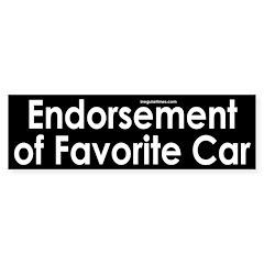 Endorsement of Favorite Car Bumper Sticker