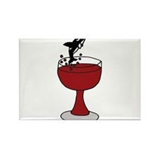Killer Whale Leaping in Wine Glass Rectangle Magne
