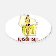 Vintage Wisconsin Pinup Oval Car Magnet