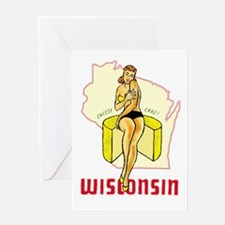 Vintage Wisconsin Pinup Greeting Card