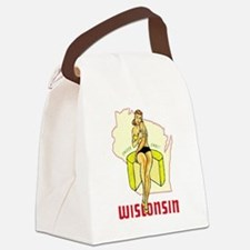 Vintage Wisconsin Pinup Canvas Lunch Bag