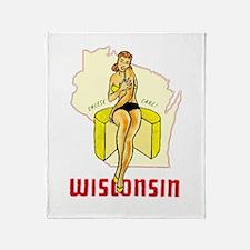 Vintage Wisconsin Pinup Throw Blanket