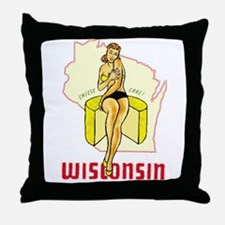 Vintage Wisconsin Pinup Throw Pillow