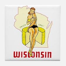 Vintage Wisconsin Pinup Tile Coaster