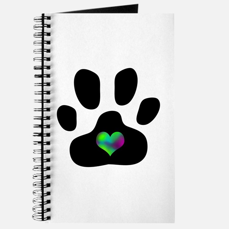 Rainbow Heart Paw Print - Journal