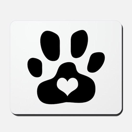 Heart Paw Print - Mousepad