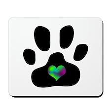 Rainbow Heart Paw Print - Mousepad