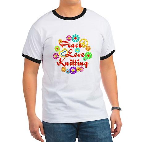 Peace Love Knitting Ringer T