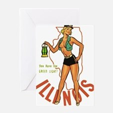 Illinois Pinup Greeting Card