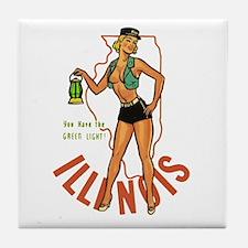 Illinois Pinup Tile Coaster