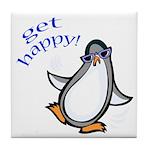 Get Happy Dancing Penguin Tile Coaster