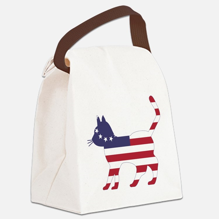 Betsy Ross Flag Cat Icon Canvas Lunch Bag