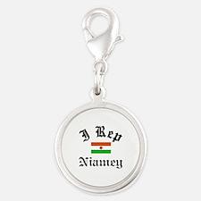 I rep Niamey Silver Round Charm