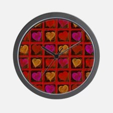 Shelving Hearts Wall Clock