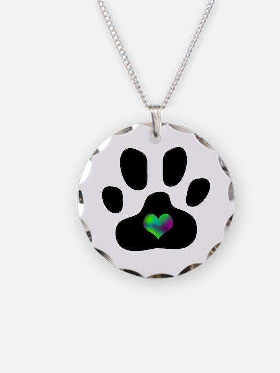 Rainbow Heart Paw Print - Necklace