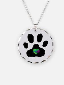 Rainbow Heart Paw Print - Necklace Circle Charm