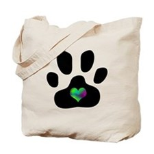 Rainbow Heart Paw Print - Tote Bag