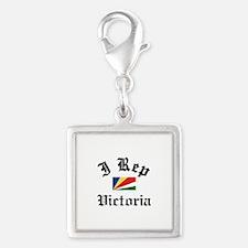 I rep Victoria Silver Square Charm