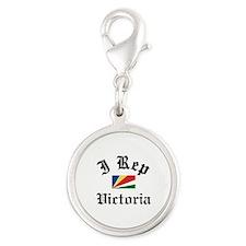 I rep Victoria Silver Round Charm