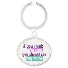If you think I'm Cute - Mimi Oval Keychain