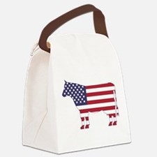 US Flag Cow Icon Canvas Lunch Bag