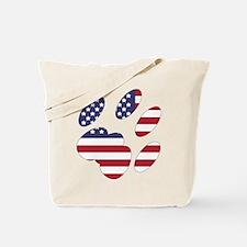 US Flag Cat Paw Tote Bag