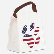 US Flag Cat Paw Canvas Lunch Bag