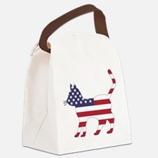 US Flag Cat Icon Canvas Lunch Bag