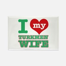 I love my Turkmen Wife Rectangle Magnet