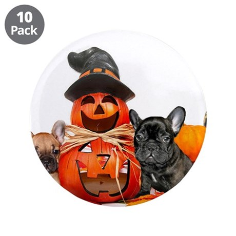 "Halloween French Bulldogs 3.5"" Button (10 pack)"